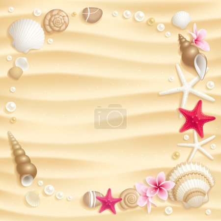 Illustration for Frame of seashells and starfishes on the sand - Royalty Free Image