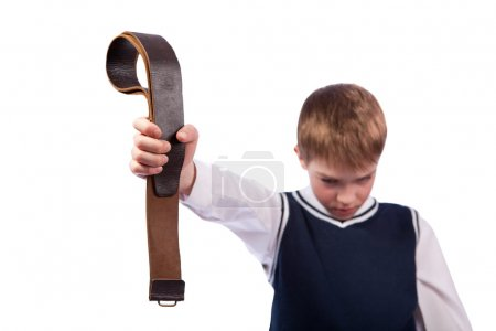 Sad schoolboy and punishment, isolation