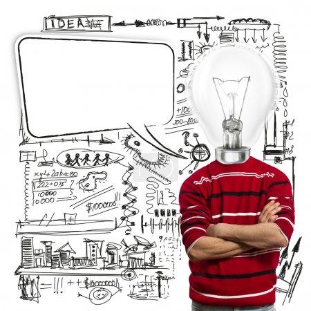 Photo pour Mâle en rouge et la tête de la lampe avec bulle de dialogue, ont eu une idée - image libre de droit