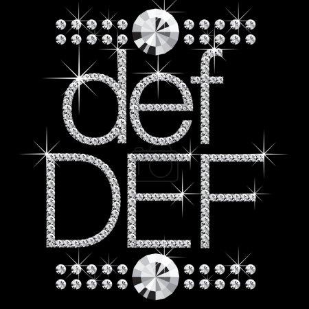 Illustration pour Lettres vectorielles en diamant avec pierres précieuses isolées sur noir - image libre de droit