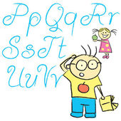 Vecrot children calligraphy letters with boy and girl