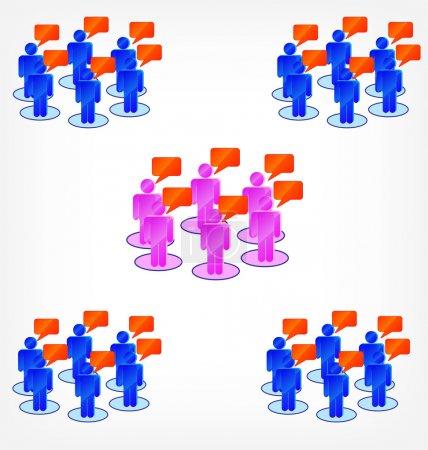 Illustration pour Icônes conceptuelles de forum ou de groupe de discussion de bulles d'expression et de personnes - image libre de droit