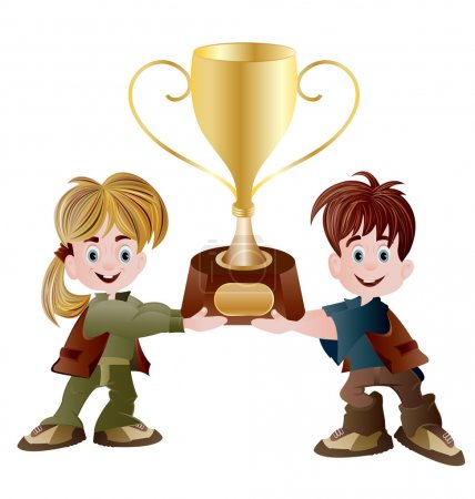 girl and boy holding trophy