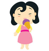 A little baby girl character is eating an ice cream cone