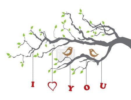 Illustration pour Des oiseaux amoureux sur une branche d'arbre. Cette image est une illustration vectorielle - image libre de droit