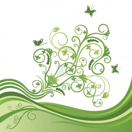Illustration pour Fleur élégante verte et bordure papillon. Cette image est une illustration vectorielle . - image libre de droit