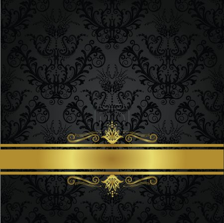 Illustration for Luxury charcoal and gold book cover. This image is a vector illustration. - Royalty Free Image