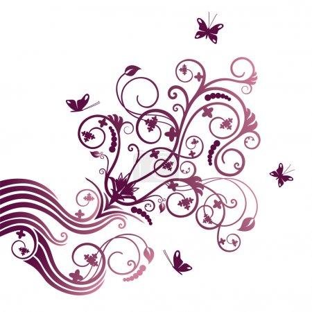 Illustration pour Fleur violette et ornement d'angle papillon. Cette image est une illustration vectorielle . - image libre de droit