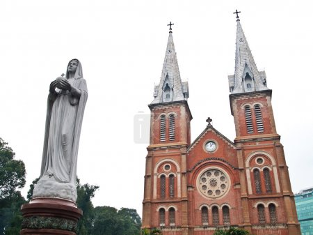 Notre Dame with Virgin Mary in Ho Chi Minh City, Vietnam