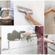 Variety of images with interior construction situa...