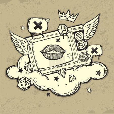 Ilustración de Diseño Grunge tv - Imagen libre de derechos