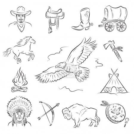 Illustration pour Ensemble d'icônes occidentales. Une collection d'images vectorielles élégantes sur le thème du Far West - image libre de droit