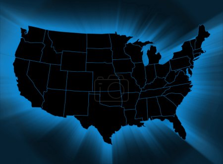 Photo for USA map on black background - Royalty Free Image