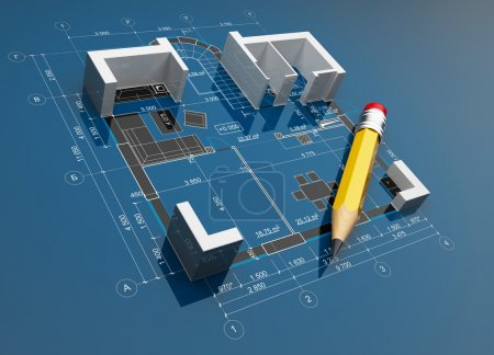 Project of construction. 3D illustration