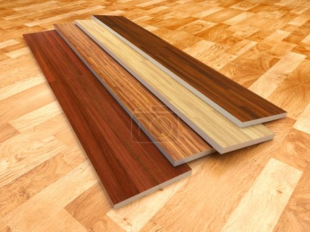 Wood floor. 3D illustration, color - brown...