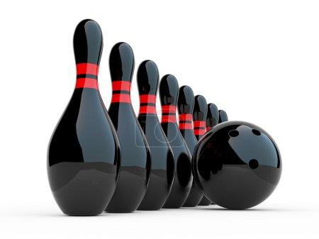 Photo pour Bowling. illustration 3D sur fond blanc. jeu - image libre de droit