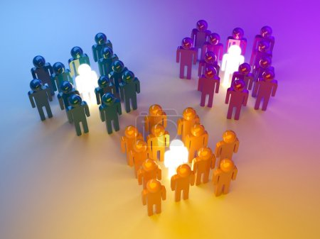 Leadership. Management of groups. 3d illustration