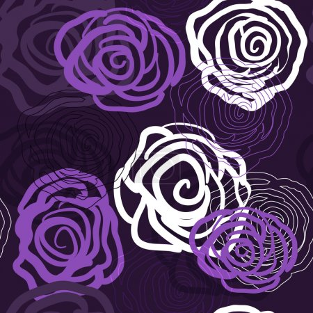 Photo for Abstract violet vector background with roses - Royalty Free Image