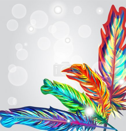 Photo for Bright vector background with multicolor feathers - Royalty Free Image