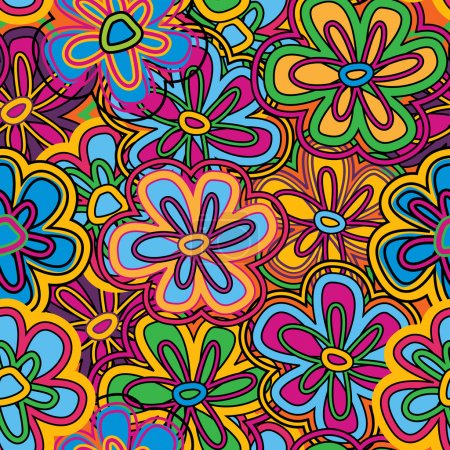Photo for Bright vector seamless texture with vivid flowers - Royalty Free Image