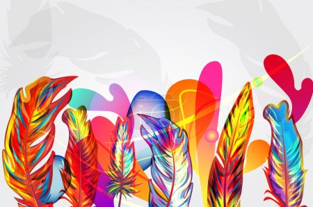 Illustration for Bright vector background with feathers and abstract shapes - Royalty Free Image