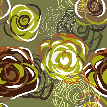 Photo for Green vector seamless texture with abstract roses - Royalty Free Image