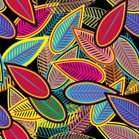 Photo for Abstract seamless vector background with multicolor leafs - Royalty Free Image