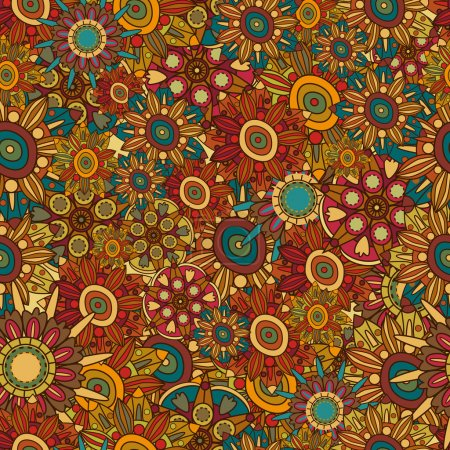 Illustration for Abstract seamless floral vector retro pattern - Royalty Free Image