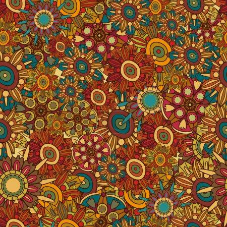 Illustration pour Rétro modèle abstrait vector floral sans soudure - image libre de droit