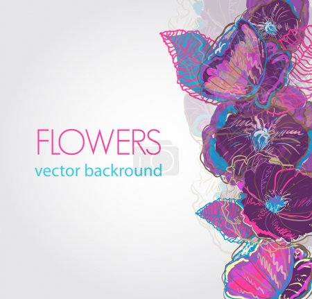 Photo for Abstract vector background with watercolor flowers - Royalty Free Image