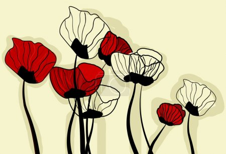 Illustration for Vector background with drawing poppies - Royalty Free Image