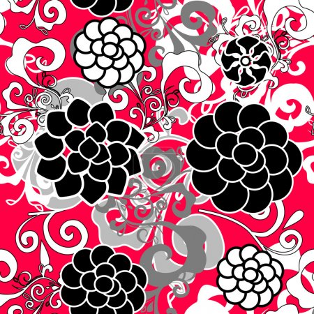 Photo for Abstract seamless red vector texture with damask pattern - Royalty Free Image