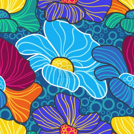 Photo for Abstract vector seamless texture with bright drawing flowers - Royalty Free Image