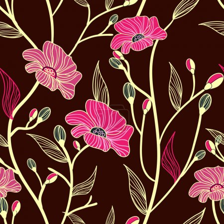 Photo for Abstract seamless vector dark pattern with pink flowers - Royalty Free Image