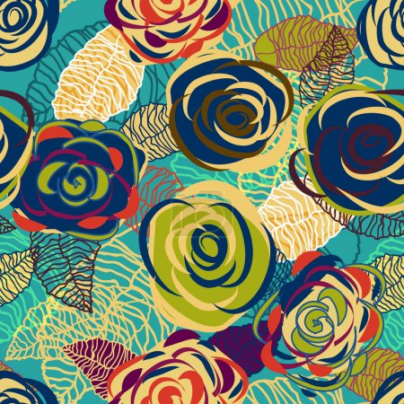 Photo for Abstract seamless vector texture with bright flowers - Royalty Free Image