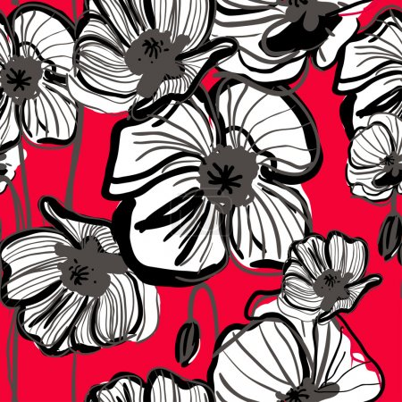 Photo for Abstract seamless vector dark pattern with red poppy - Royalty Free Image