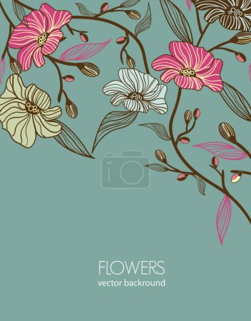 Photo for Abstract gray vector background with drawing flowers - Royalty Free Image