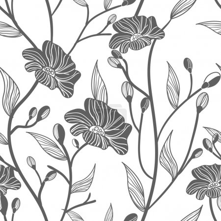 Photo for Abstract light vector background with drawing gray flowers - Royalty Free Image