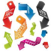 Colorful arrow shaped price tag set