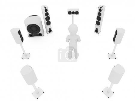 Photo pour Systèmes acoustiques modernes isolés sur le blanc - image libre de droit