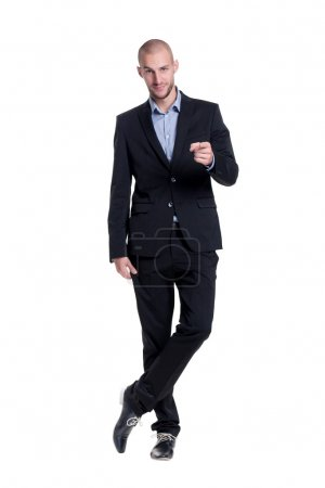 Confident young businessman emotional