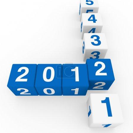 Photo pour Cube en 3d bonne année bleu 2011 2012 - image libre de droit
