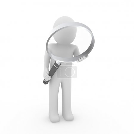 3d man search magnifying glass