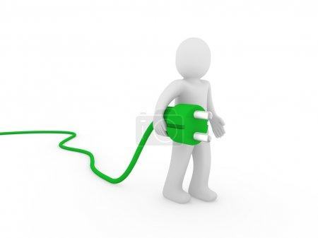 3d human plug green