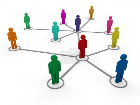Photo for 3d network team red blue green pink social - Royalty Free Image