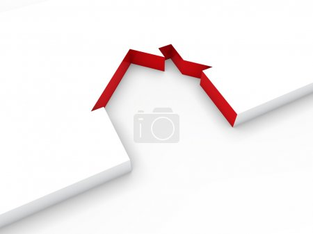 3d house line red
