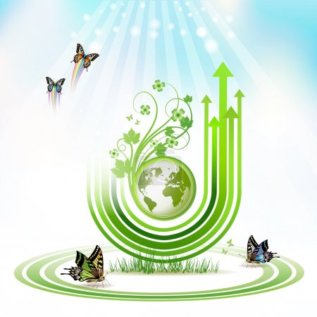 Illustration for Green Earth with green arrow stripes and butterflies over sky background - Royalty Free Image
