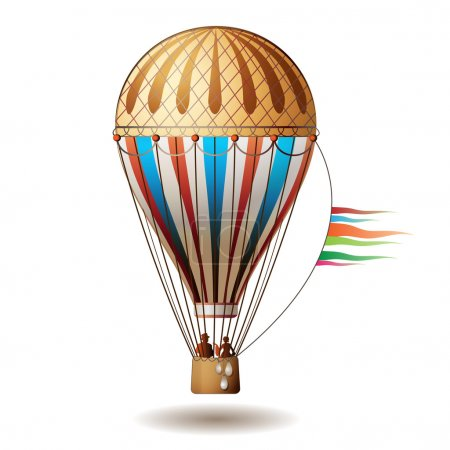 Illustration for Colorful hot air balloon with silhouettes isolated on white background - Royalty Free Image