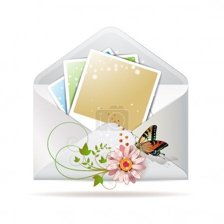 Blank colored photos in envelope
