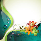 Background with lilies clover and drops of water